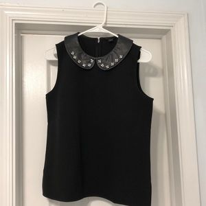 Black Shift Blouse with Leather Peter Pan Collar